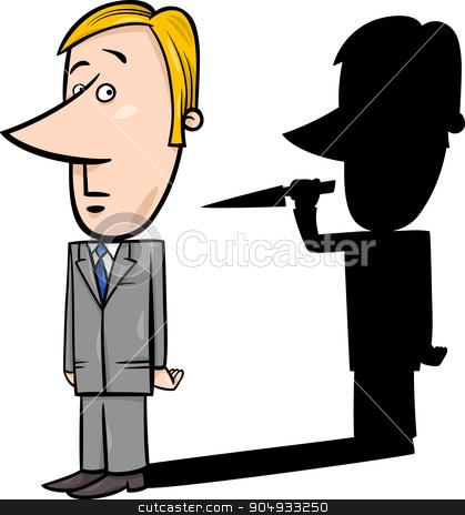 businessman and evil shadow stock vector clipart, Concept Cartoon Illustration of Businessman and his Evil Shadow with Knife by Igor Zakowski