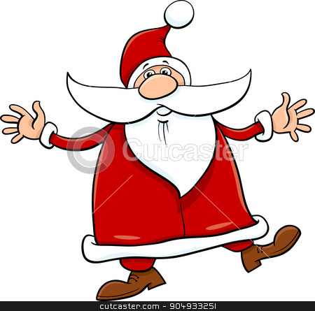 santa with sack and cane stock vector clipart, Cartoon Illustration of Santa Claus with Sack and Cane on Christmas Time by Igor Zakowski