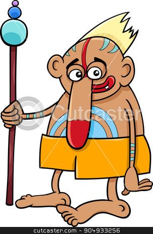 tribal shaman fantasy character stock vector clipart, Cartoon illustration of Fantasy or Tribal Wizard or Shaman by Igor Zakowski