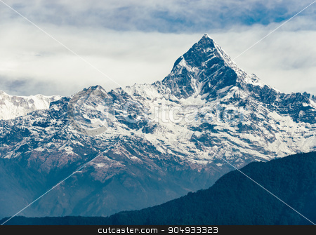 The Machhapuchhre (Fish Tail) in Nepal stock photo, The Machhapuchhre (Fish Tail) in the Annapurna region, Nepal. Film emulation filter applied. by Dutourdumonde