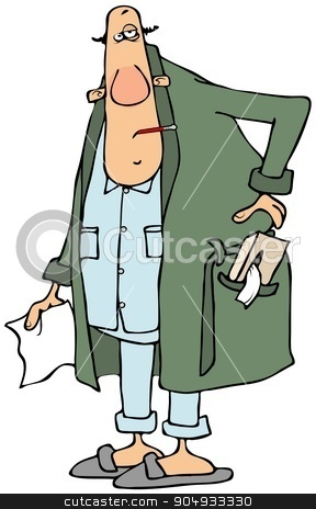 Sick man with tissues stock photo, Illustration depicting a sick man wearing pajamas and a robe with a box of tissues in his pocket. by Dennis Cox
