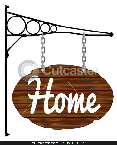 Oval Home Sign and Bracket stock vector clipart, A wooden home sign with metal bracket isolated on white by Kotto