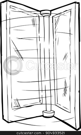 Outlined Spinning Door stock vector clipart, Isolated spinning revolving door over white background by Eric Basir