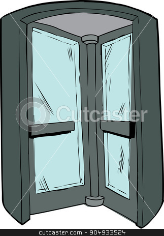 Interior of Revolving Door stock vector clipart, Cartoon revolving door in doorway on isolated background by Eric Basir