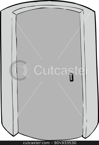 Cylindrical Elevator stock vector clipart, Closed cylindrical doorway cartoon over white background by Eric Basir