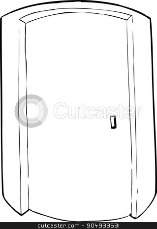 Outlined Cylindrical Elevator stock vector clipart, Outlined closed cylindrical doorway cartoon over white by Eric Basir
