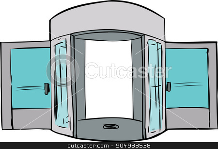 Missing Door in Doorway stock vector clipart, Cartoon of entrance with missing revolving door by Eric Basir