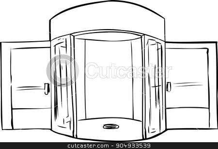 Outlined Missing Door in Doorway stock vector clipart, Outline of entrance with missing revolving door by Eric Basir