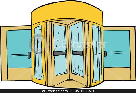 Revolving Door Background stock vector clipart, Background sketch of revolving door over white background by Eric Basir