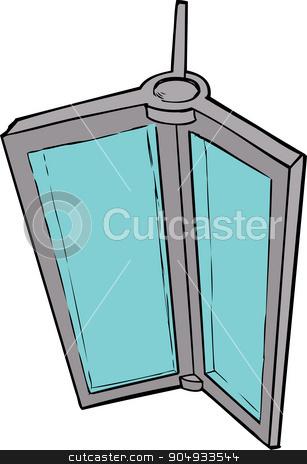 Cartoon of Revolving Door Part stock vector clipart, Hand drawn illustration of revolving door parts on white by Eric Basir