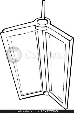 Cartoon of Revolving Door Part stock vector clipart, Outlined illustration of revolving door parts on white by Eric Basir