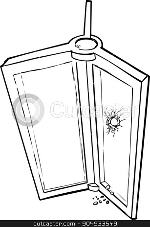Revolving Door with Hole stock vector clipart, Outlined sketch of revolving door with broken glass by Eric Basir