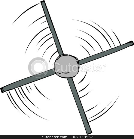 Top View of Propeller Spinning stock vector clipart, Top down view of spinning propeller cartoon by Eric Basir