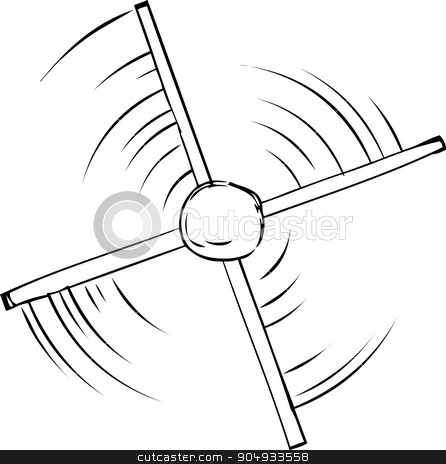 Outline of Propeller Spinning stock vector clipart, Top down outline view of spinning propeller cartoon by Eric Basir