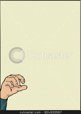 Hand Holding Object Over Green stock vector clipart, Single hand holding something over green halftone background by Eric Basir