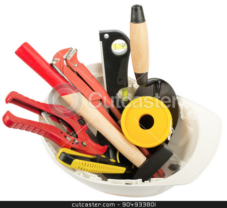 Construction worker supplies including hard hat stock photo, Construction worker supplies including  white hard hat on isolated white background, closeup by cherezoff