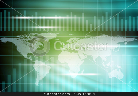 Abstract colorful background with world map stock photo, Abstract colorful background with world map and waves by cherezoff