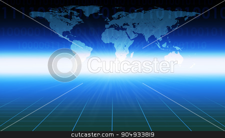 Abstract blue background with world map stock photo, Abstract blue background with world map and waves by cherezoff