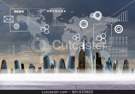 Abstract background with city stock photo, Abstract background with world map and city by cherezoff