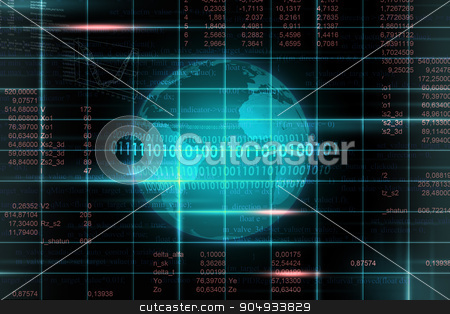 Abstract background with earth stock photo, Abstract dark background with earth  and numbers by cherezoff