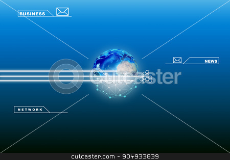 Earth with business words stock photo, Earth with business words and computer icons by cherezoff