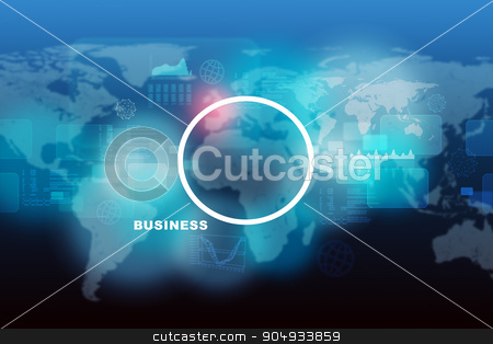 Abstract blue background with world map stock photo, Abstract blue background with world map and numbers, circle in middle by cherezoff