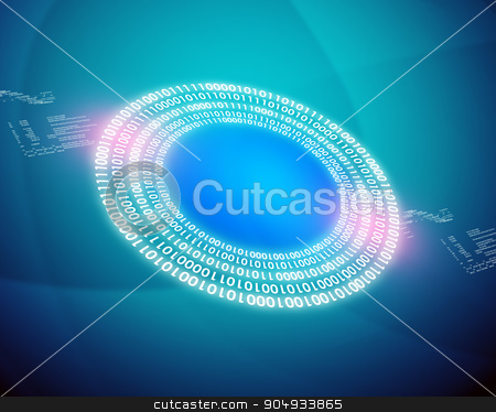 Circles with numbers stock photo, Circles with numbers on abstract blue background by cherezoff