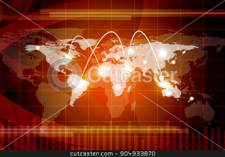 Abstract colorful background with world map stock photo, Abstract colorful background with world map and spotlights by cherezoff