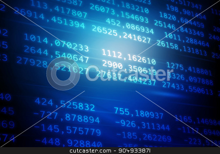 Digital blue Abstract background stock photo, Blue Digital Abstract background with numbers and light by cherezoff