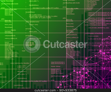 Digital green Abstract background stock photo, Green Digital Abstract background with numbers and light by cherezoff