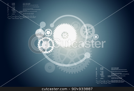 Abstract gear wheels stock photo, Set of abstract gear wheels on grey background by cherezoff