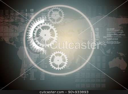 Abstract gear wheels with world map stock photo, Set of abstract gear wheels on grey background with world map by cherezoff
