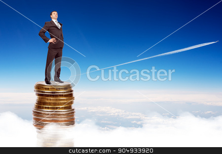 Businessman on coins pile in sky stock photo, Businessman on coins pile blue sky with clouds and jet by cherezoff