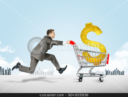 Running businessman with shopping cart stock photo, Running businessman with dollar sign in shopping cart by cherezoff