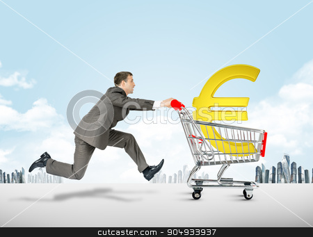 Running businessman with shopping cart stock photo, Running businessman with euro sign in shopping cart by cherezoff