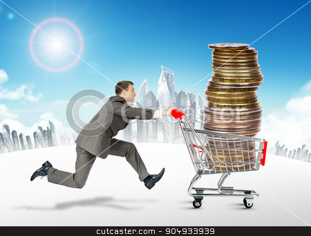 Running businessman with shopping cart stock photo, Running businessman with coins in shopping cart by cherezoff