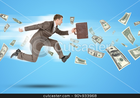 Businessman running forward stock photo, Businessman with suitcase  running forward with flying dollars by cherezoff