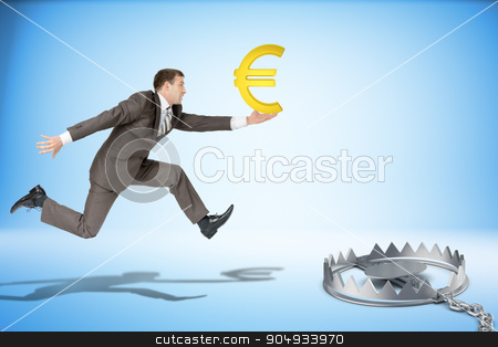Businessman running forward with euro sign stock photo, Businessman with euro sign running forward and beartrap by cherezoff