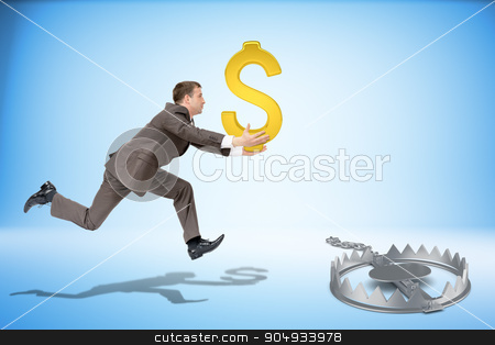 Businessman running forward with dollar sign stock photo, Businessman with dollar sign running forward and beartrap by cherezoff