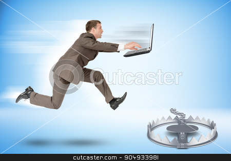 Businessman running forward  stock photo, Businessman with laptop running forward to beartrap by cherezoff