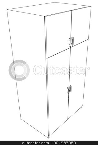 Illustration of cabinet stock vector clipart, Illustration of cabinet on white background, vector by cherezoff