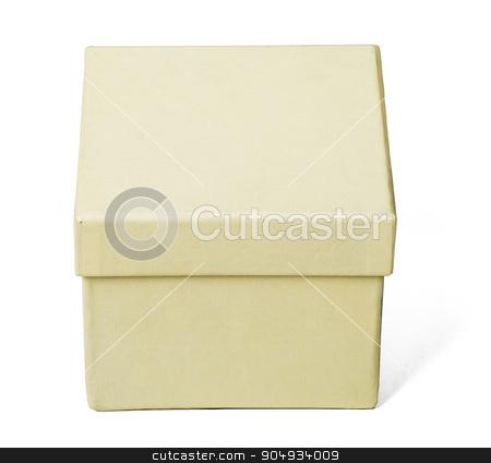 White box, closeup stock photo, White carton box on isolated white background, top view by cherezoff