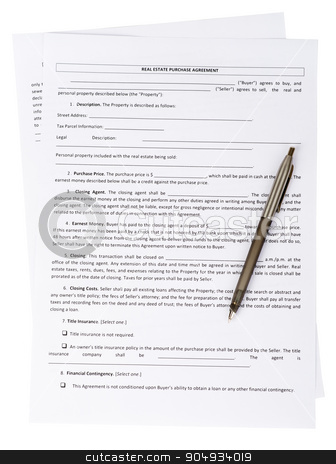 Real estate purchase agreement stock photo, Real estate purchase agreement with pen on white background by cherezoff