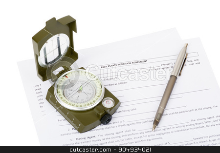 Documents with compass stock photo, Documents with compass and pen on isolated white background, closeup by cherezoff