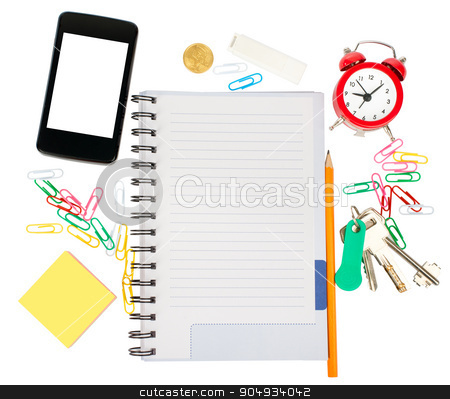 Open notebook with stationery and smartphone stock photo, Open notebook with stationery and smartphone isolated white background, closeup by cherezoff