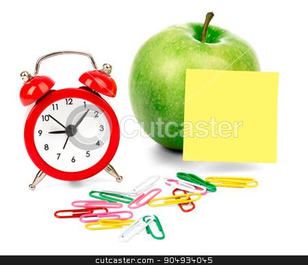 Alarm clock with apple stock photo, Alarm clock with apple and clips isolated on white background by cherezoff