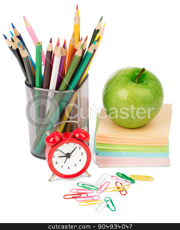 Alarm clock, green apple, stickers and crayons stock photo, Alarm clock, green apple, stickers and crayons. Isolated on white background by cherezoff