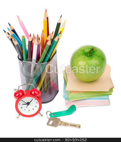 Alarm clock with apple and keys stock photo, Alarm clock with apple and keys isolated on white background by cherezoff