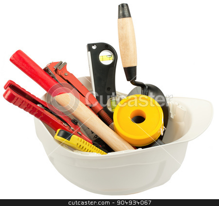 Construction worker supplies including hard hat stock photo, Construction worker supplies including hard hat on isolated white background by cherezoff