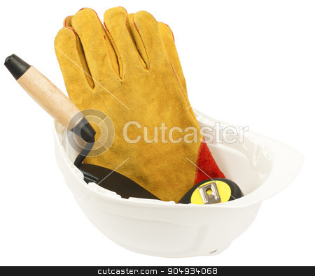 Construction worker supplies including hard hat stock photo, Construction worker supplies including white hard hat and gloves on isolated white background by cherezoff